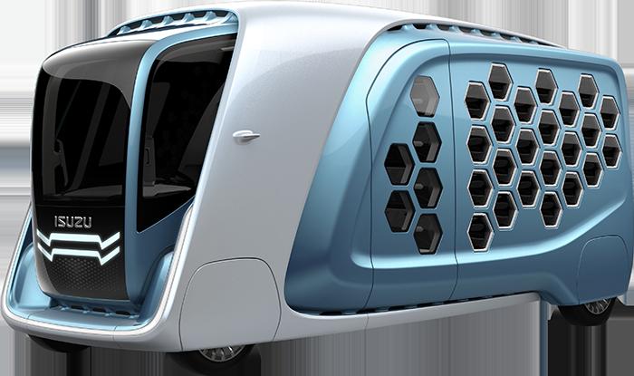 รถบรรทุกต้นแบบ ISUZU FD-SI Concept ด้านหน้าเด่นด้วยกระจังหน้าทรงปีก2 ชั้น