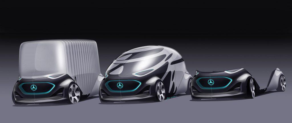 รถบรรทุกไฟฟ้าต้นแบบ mercedes benz van transporter vision urbanetic self driving